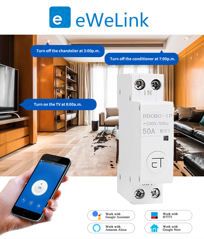 eWelink 1P WiFi remote control circuit breakerSmart din rail switch compatiable with amazon Alexa and google home for Smart Home