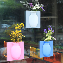 Get more info on the Decoration Magic Vase Home Silicone Sticky Vase Plant Seamless Sticker Bottle Wall Hanging Suction Vase for Glass Wall