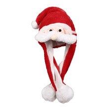 Шапка Санты с ушками, забавная плюшевая светящаяся шапка для женщин и девочек, шапка для костюмированной вечеринки, праздничная шляпа красного цвета