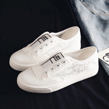 Fashion Summer Wome Shoes New Woman Sneakers Casual Lace Breathable Women Slip-On Sneakers Female Flats White Korea Style