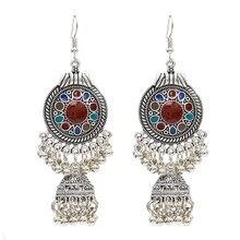 2019 Vintage Ethnic Gypsy Indian Earrings For Women Boho Jewelry Ladies Retro Round Bell Tassel Hollow for women