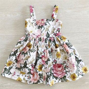 цена CANIS Summer Toddler Kids Spaghetti Strap Button Flower Baby Girl Dress Princess Party Casual Dresses Clothes онлайн в 2017 году