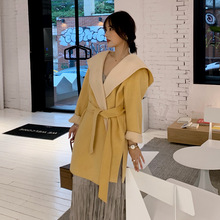 Autumn 2019 New Line with Double-sided Double-color Loose Wool Overcoat Women Korean Version Short Cap Long Coat