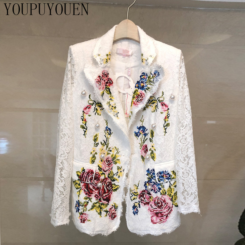 2019 Autumn Winter Women Jacket Suit Hollow Embroidery Crochet Long Sleeve Slim Coat American Woman Luxury Pearl Elegant Blazers