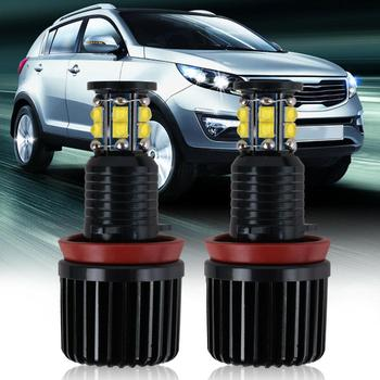 New Car LED Headlight 360-degree 6-sided 120W H8 LED Angel Eyes Halo Ring Light Bulbs 6500K For BMW E92 E93 E63 E70 Lamps image