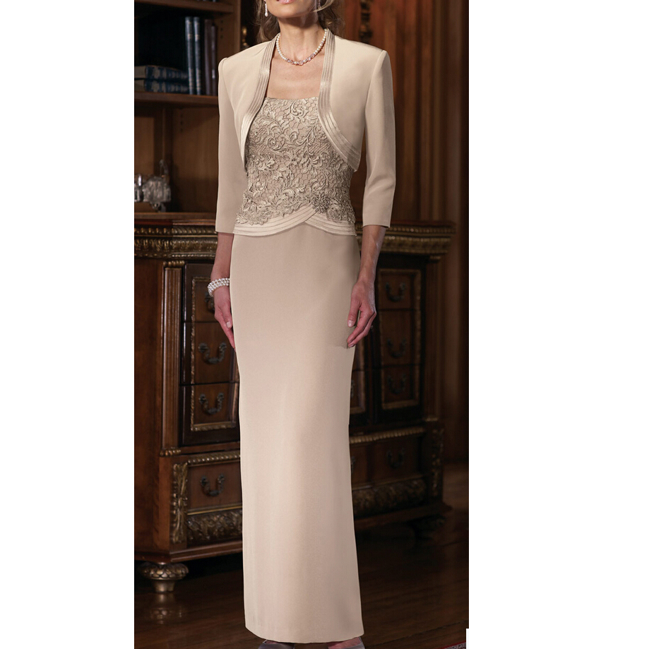 Khaki Mother Of The Bride Groom Dresses With Jacket LaceFormal Evening Gown Scoop Wedding Guest Vestido Madrinha Longo Plus Size