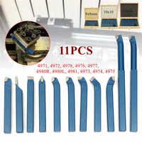 11PCS Carbide Tip Cutting Turning Boring Bit Mini Metal Lathe Tool Set Carbide for Metal Working Lathe Thread 8/10/12mm