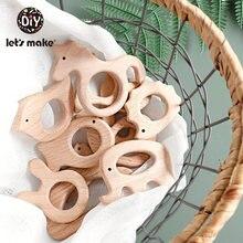 Vamos fazer 1pc bebê mordedor animais anéis de madeira unicórnio câmera ouriço grau alimentício mordedor de madeira pingente de enfermagem dentição brinquedos