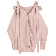 Kobiety Off Shoulder Striped Big Size bluzka nowy głęboki dekolt z długim rękawem luźna koszula moda wiosna jesień 2020 V825 tanie tanio HNFWEC COTTON Poliester REGULAR Slash neck NONE Pełna Na co dzień Jersey Stałe