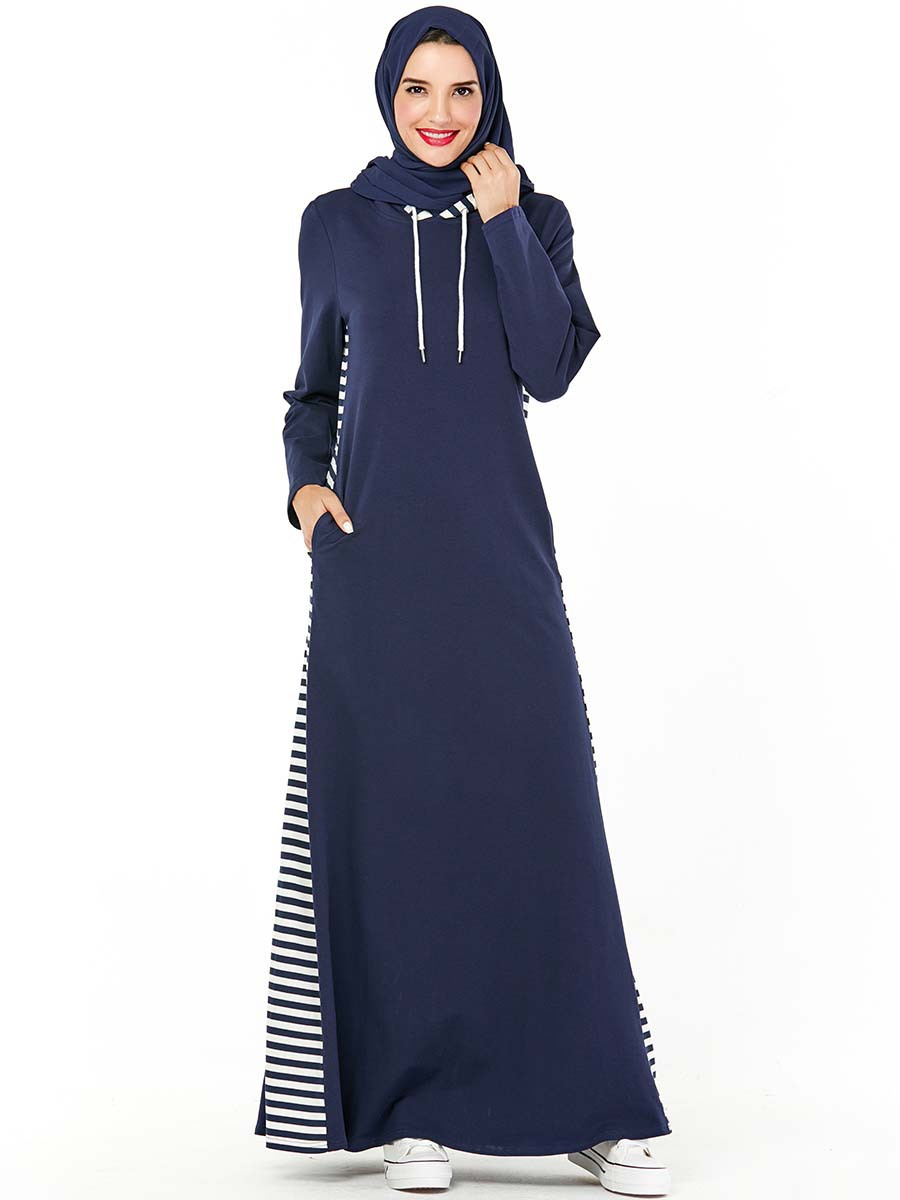 Dubai Arab Hooded Tracksuit Long Dress Women Muslim Stripe Sports Jogging Maxi Dress Walk Wear Side