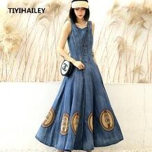 Женское джинсовое платье без рукавов tiyihailey длинное винтажное