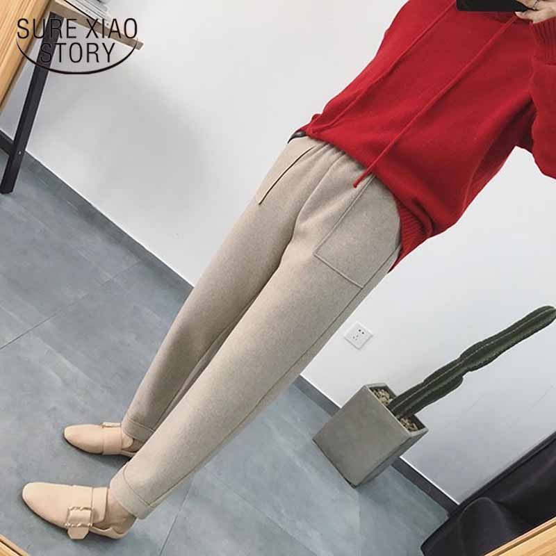 Autumn Winter Pants Women Korean Style Thicken Women Harem Pants Woolen Plus Size Pantalon Loose Female Trousers Capris 11066