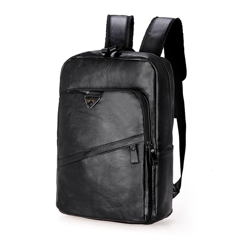 Vintage Men Backpack Waterproof Pu Leather Travel Big Capacity Laptop Bag