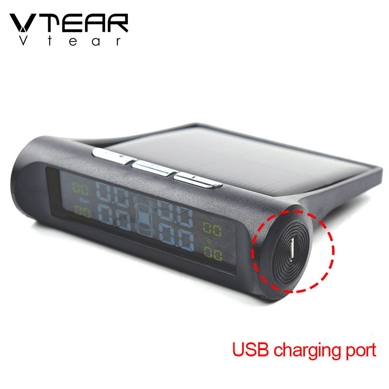 Image 3 - Vtear Car TPMS universal Smart Tyre Pressure Monitoring System Solar Power Digital LCD Display Auto Security Alarm Systems partsTire Pressure Monitor Systems   -