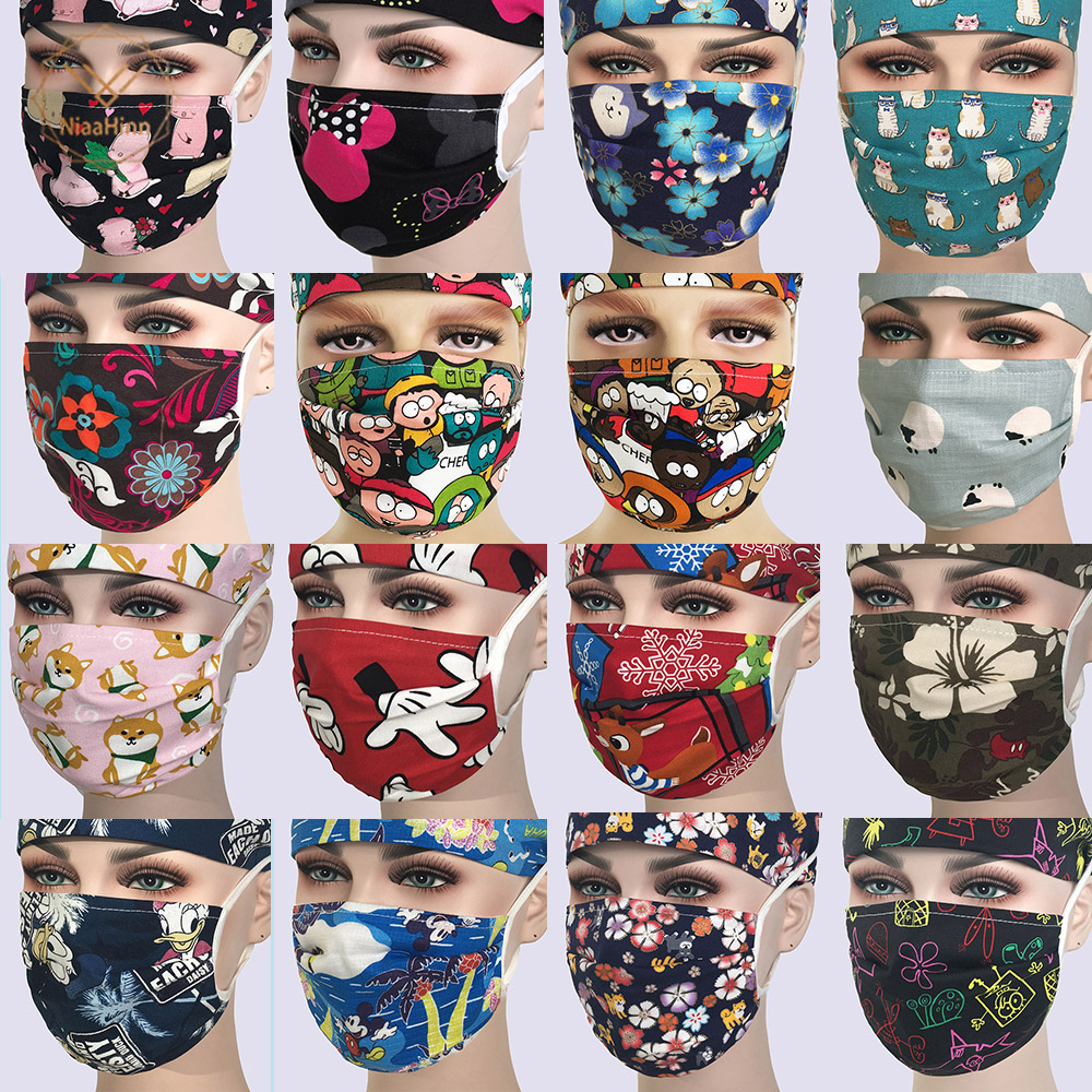 17 Colors Surgical Mask Medical Pattern Nurse Work Mask Adjustable Quality Cotton Beauty Dentist Veterinary Hospital Doctor Mask