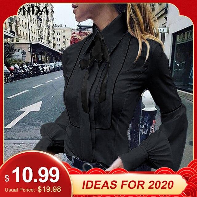 VONDA Ladies Office Shirt 2019 Autumn Blouse Women Sexy Lantern Sleeve Turn-down Collar Shirt Casual Tops Plus Size Blusas S-5XL 1