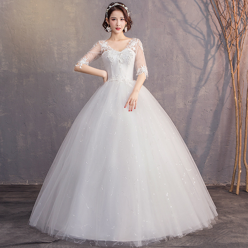 Elegant Plus Size Wedding Dresses Half Sleeve V-Neck Appliques Lace Up Ball Gown Cheap Illusion Bride Dress Robe De Mariee 2020