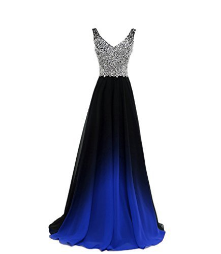Elegant Prom <font><b>Dress</b></font> <font><b>Sexy</b></font> <font><b>V</b></font>-<font><b>neck</b></font> Sleeveless Ombre Blue Black Red Chiffon Long Prom <font><b>Dresses</b></font> 2020 Real Photos Formal Party Gowns image