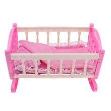 Prinzessin Wiege Bett Möbel für 9-11inch Reborn Mädchen Baby Puppe Kinder Pretend Spielen Spielzeug Geburtstag Geschenk
