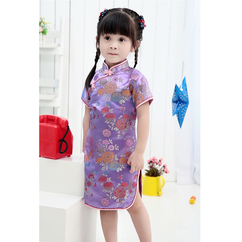 2019 Baby Girl NEW YEAR Summer Dresses Kid Chinese Style Chi-pao Qipao Cheongsam Gift Clothes