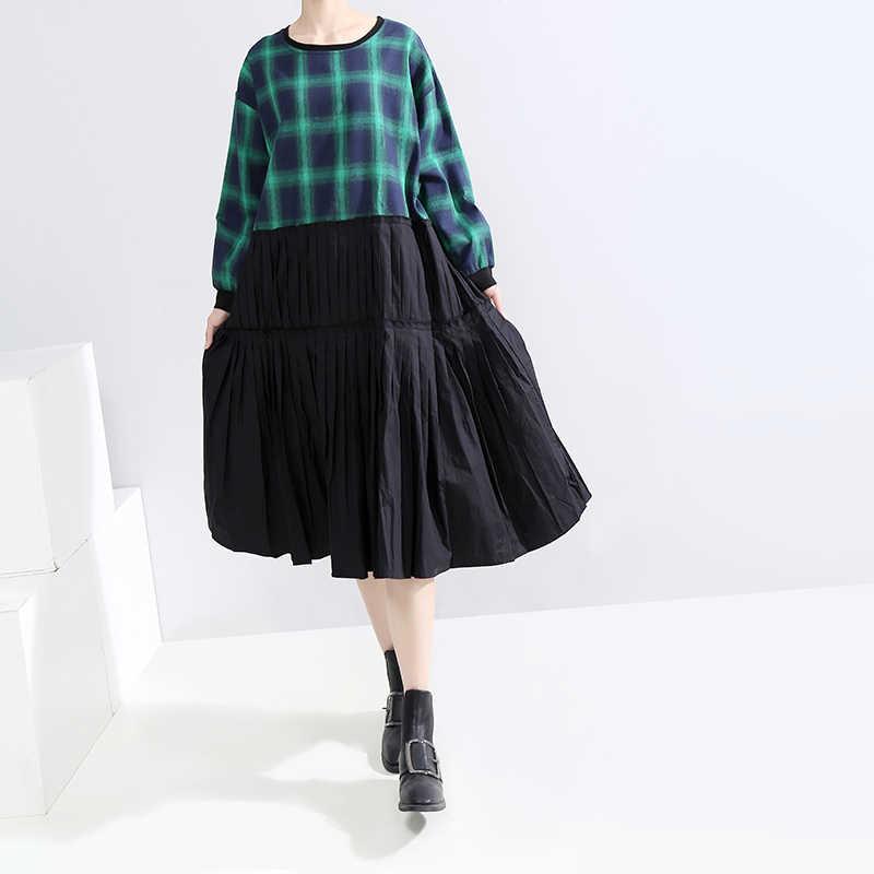 * 2019 корейский стиль Для женщин Осень Зеленый плиссированное платье в клетку в стиле пэчворк с круглым вырезом женские милые по колено Повседневное платье-халат Femme 5631