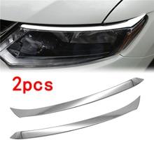 2 Pcs Auto Front Scheinwerfer Augenbraue Abdeckung Trim ABS Chrom Silber Aufkleber Zubehör für Nissan XTrail X Trail T32 2014 2015 2016