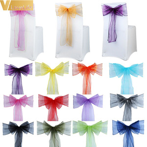High Quality Organza Chair Sashes Wedding Chair Knot Cover Chairs Bow Band Belt Ties For Weddings Banquet 100x Decoration|Sashes|Home & Garden -