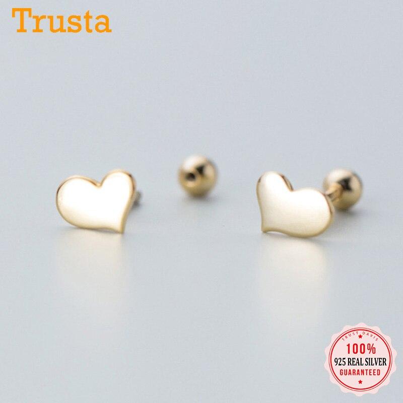 Trust davis Real 925 en argent Sterling coeur vis boucles d'oreilles pour femmes enfants bébé filles enfants Mini minimaliste bijoux DA1979