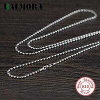 BALMORA Настоящее 925 пробы Серебряное ожерелье с бусинами на цепи для женщин мужчин подарок ретро панк Модные аксессуары 16-24 дюймов ювелирные и...