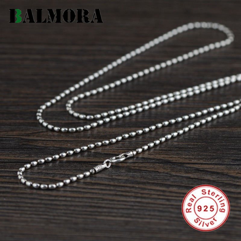US $8.42 40% OFF|BALMORA Real 925 Sterling Silver Beads Chain Necklaces for Women Men Gift Retro Punk Fashion Accessories 16 24 inch Jewelry|Power Necklaces| |  - AliExpress