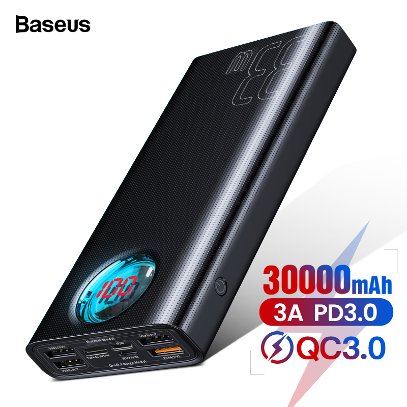 Baseus 30000mAh <font><b>Power</b></font> <font><b>Bank</b></font> USB C PD3.0 Fast Quick Charge 3.0 <font><b>30000</b></font> <font><b>mAh</b></font> Powerbank Portable External Battery Charger For <font><b>Xiaomi</b></font> mi image