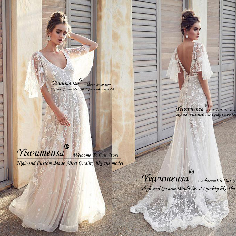Sexy Backless Beach Wedding Dresses 2020 Embroidery Lace Bridal Gowns Robe De Marriage V Neck Bride Dress Vestido De Novias 2019