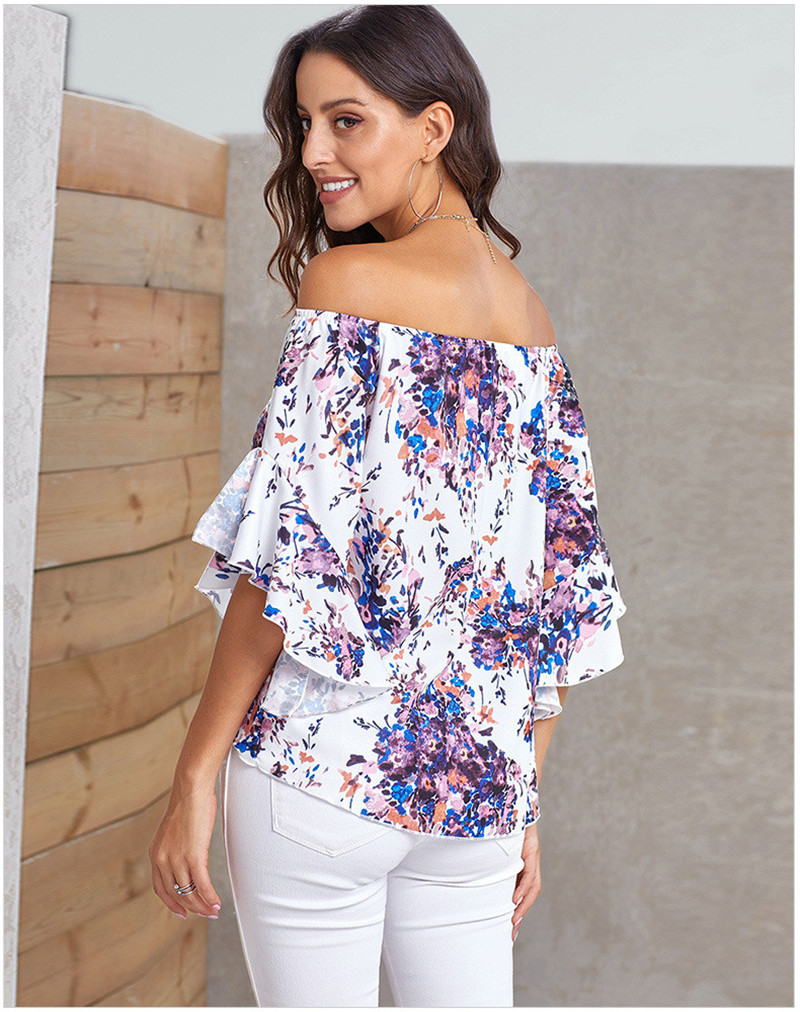 Echoine Women Sexy Off Shoulder Floral Bow Tie Front Chiffon Blouse Three Quarter Flare Sleeve Street Lady Shirt Elegant Clothes in Blouses amp Shirts from Women 39 s Clothing