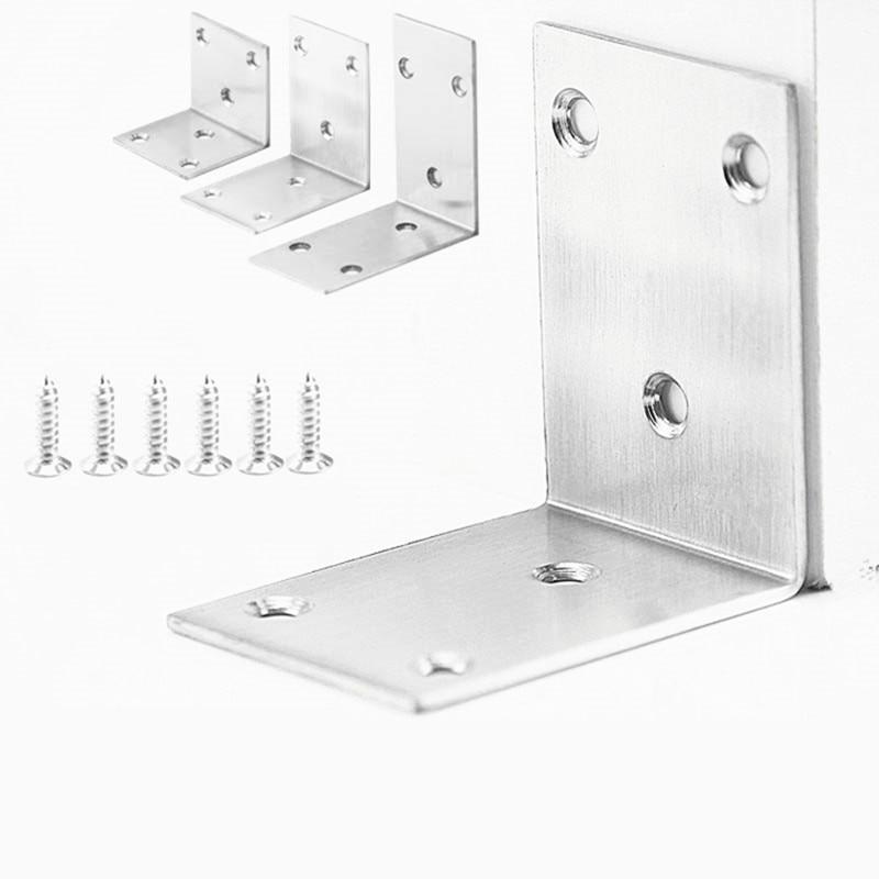10pcs Furniture Reinforcement Connector Stainless Steel Bracket Thick Furniture Repair Diy Corner Code Perforated Shaft Bracket