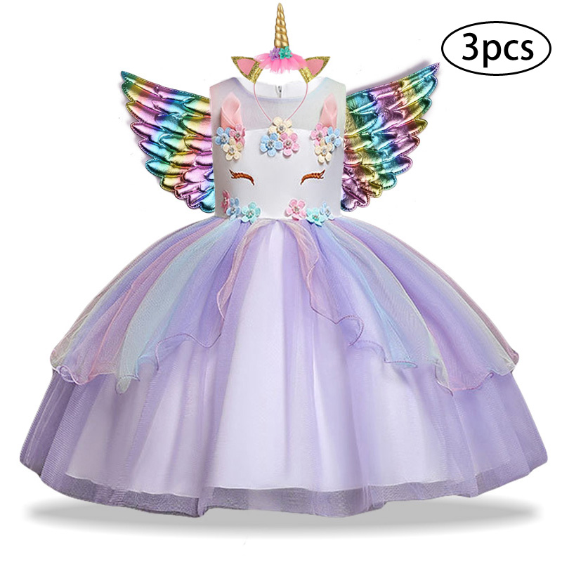 H04857352cf8b49f29bfe7667ba51a2cfa New Girls Dress 3Pcs Kids Dresses For Girl Unicorn Party Dress Christmas Carnival Costume Child Princess Dress 3 5 6 8 9 10 Year
