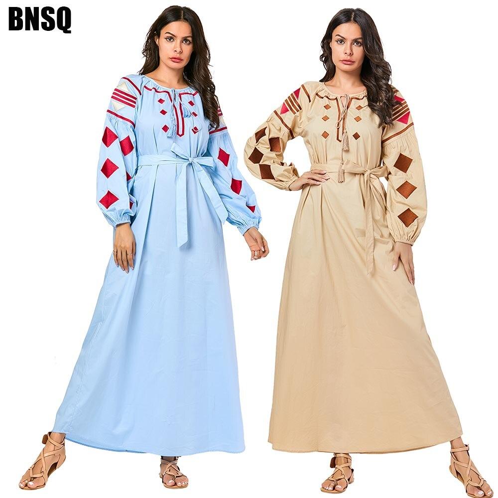 BNSQ Abayas For Women Muslim Dress Women Gamis Muslim Wanita Robe Dubai Moslim Jurken Robe Musulmane Femme Djelaba Femme