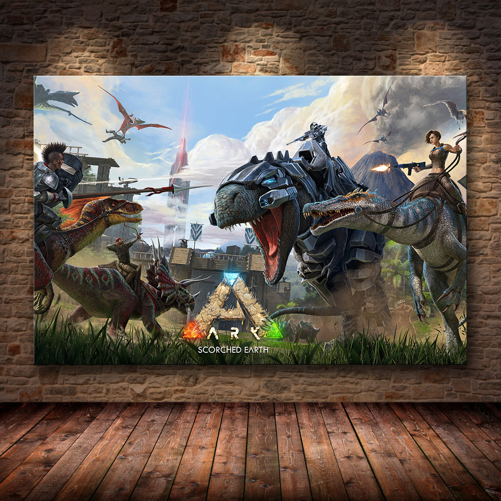 Ark: Survival Evolved Poster Hit NEW Game 2018 canvas poster Decorative Wall painting Wallpaper Living Room Decor 24x36inch