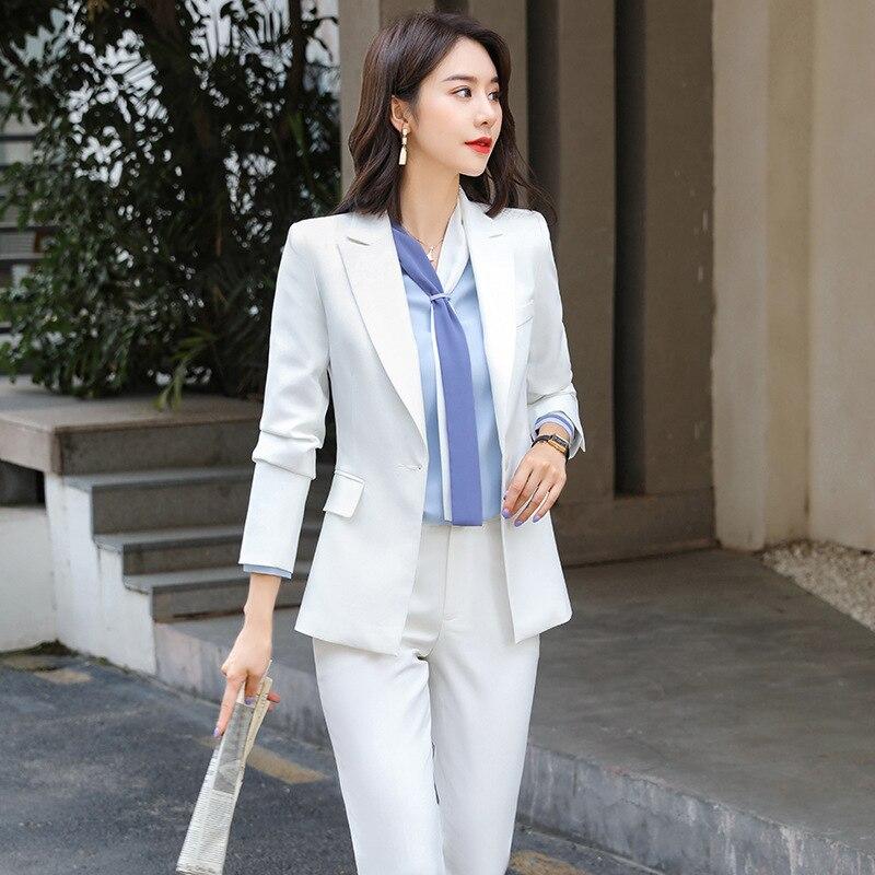 New women's professional wear interview clothing pants suit two-piece suit Temperament solid color ladies jacket Slim trousers
