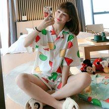 2021 New Short Sleeve Pajamas Set for Women Cotton Sleepwear 2PC Nightwear Cute Print Home Wear Summer Lounge Pyjamas