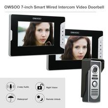OWSOO 7 인치 비디오 도어 폰 현관 인터폰 키트 2 실내 모니터 1 실외 카메라 핸즈프리 통화 전기 잠금 제어