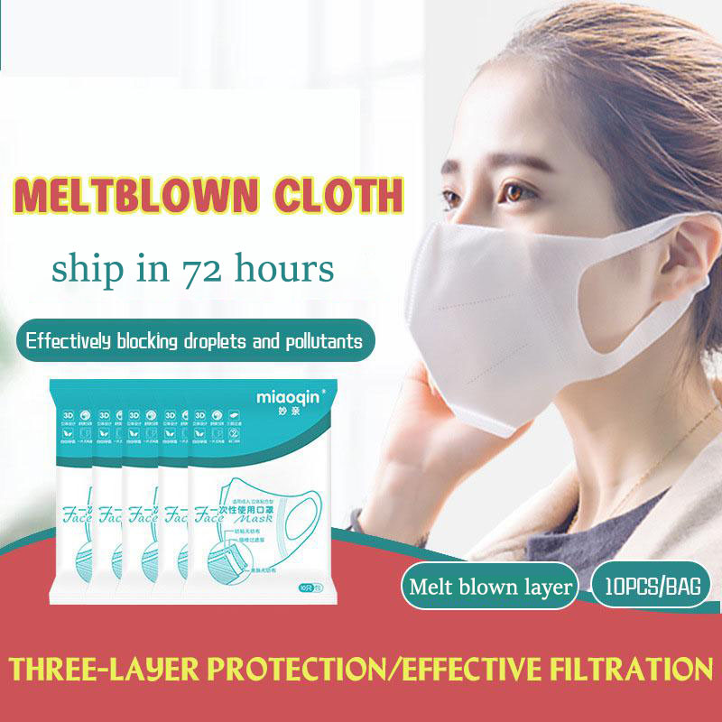 10pcs/50pcs 3d Disposable Face Mask Three-layer Mouth Mask Respirator Non-woven Pm2.5 Anti-dust Mouth Face Mask
