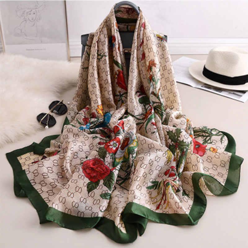Di lusso di marca hijab donne di estate sciarpe morbido lungo sciarpe di seta stampa dello scialle della signora e avvolgere 2019 pashmina bandana spiaggia stole