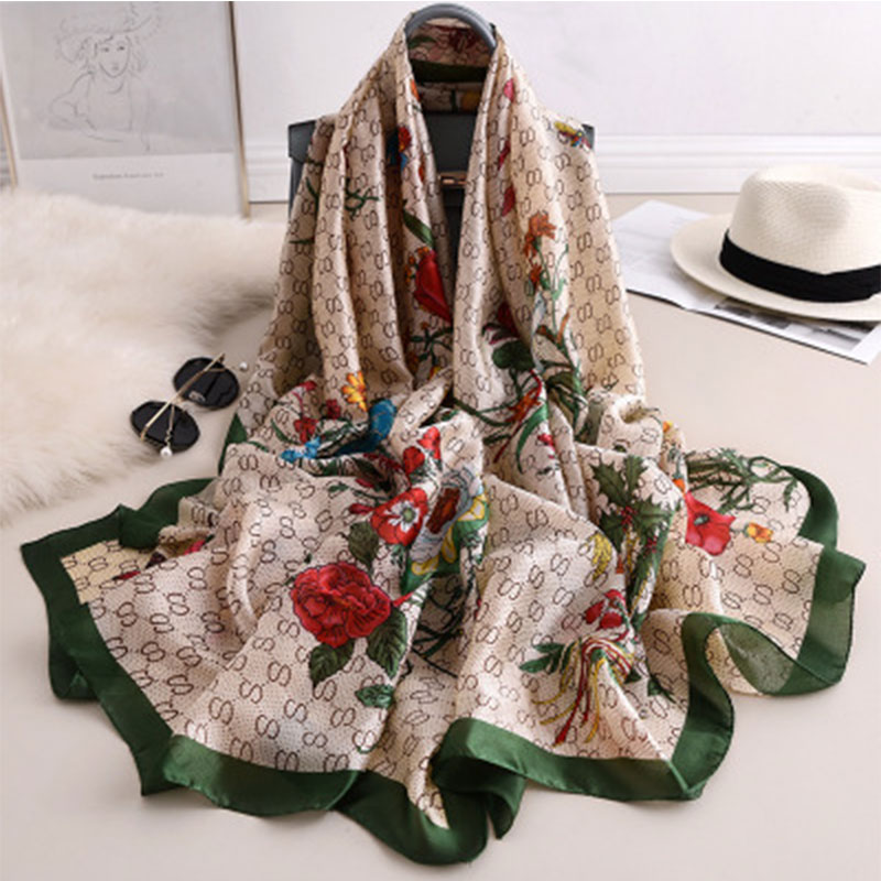 Luxury Brand Hijab Summer Women Scarves Soft Long Print Silk Scarves Lady Shawl And Wrap 2019 Pashmina Bandana Beach Stoles