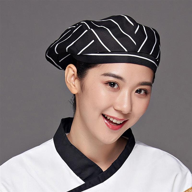 2pcs Restaurant Waiter Beret Kitchen Working Cap Creative Chef Hat Comfortable Cooking Cap (Black White Stripe, Black White Grid
