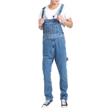 Mcikkny Men's Fashion Baggy Cargo Denim Bib Overalls Washed Loose Style Jeans Jumpsuit For Male Suspender Pants Multi-pockets