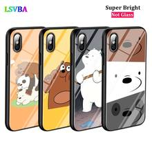 Black Cover Cute Bare Bears for iPhone X XR XS Max for iPhone 8 7 6 6S Plus 5S 5 SE Super Bright Glossy Phone Case black cover lovely cat for iphone x xr xs max for iphone 8 7 6 6s plus 5s 5 se super bright glossy phone case