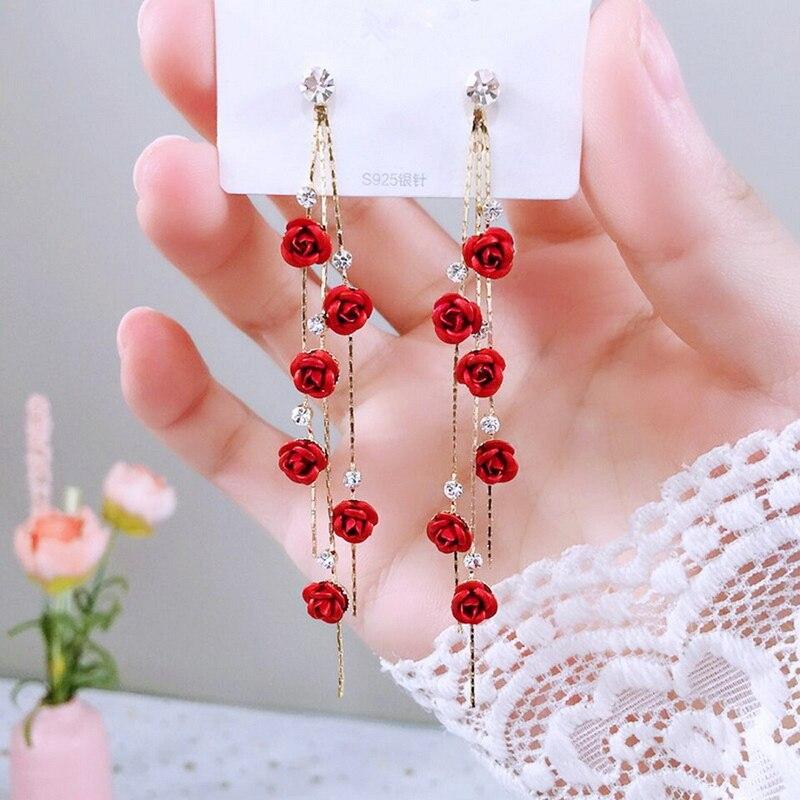 Модные висячие серьги с лепестками роз для женщин, бижутерия, длинные висячие серьги с красными и фиолетовыми кисточками, свадебные украшен...