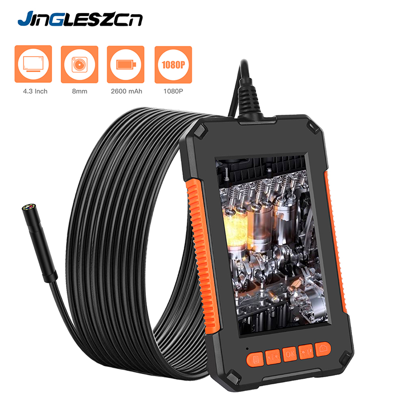 Cámara endoscópica 1080P HD 4,3 '', cámara de inspección profesional, cámara de mano tipo serpiente con 8 LED IP67 impermeable