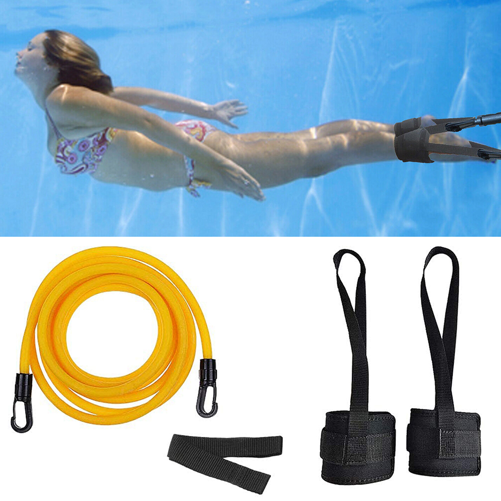 Adjustable Swim Training Resistance Belt Swimming Bungee Exerciser For Adult Kids Leash Mesh Pocket Safety Swimming Pool Tools