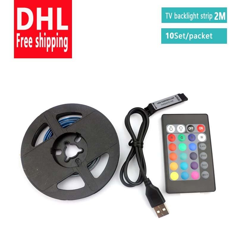DHL livraison gratuite 10 ensemble/paquet 3.3FT RGB LED bande lumineuse SMD5050 5V Flexible RGB bande LED lumières TV rétro-éclairage bande